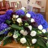 F310 - Casket Spray - Hydrangeas, Calla and Lisianthus with greenery